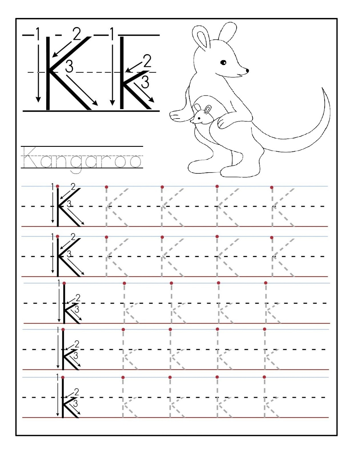 Printable Letter K Tracing Worksheets For Kindergarten