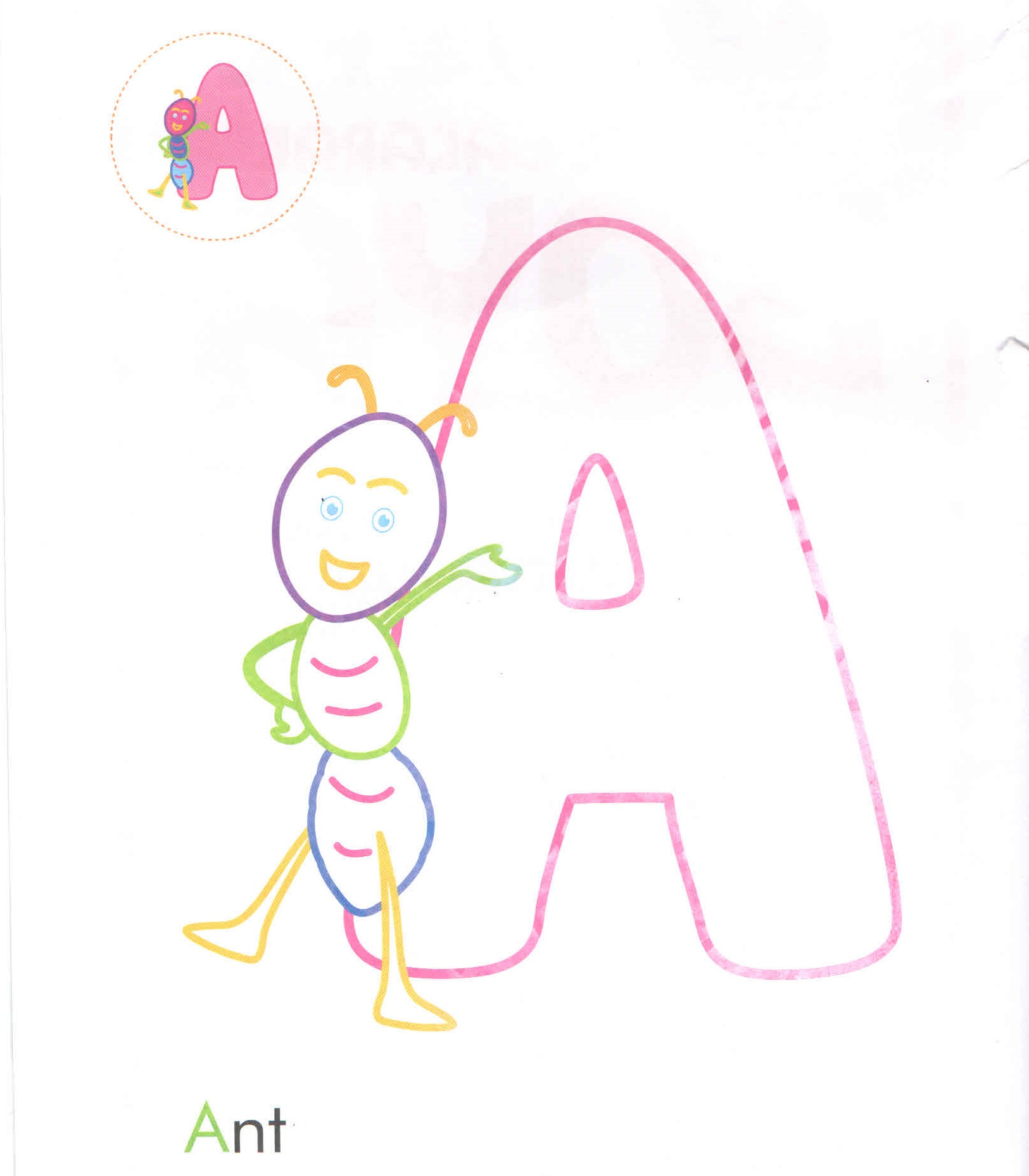 Alphabet Letter A Ant Coloring Page For Preschool