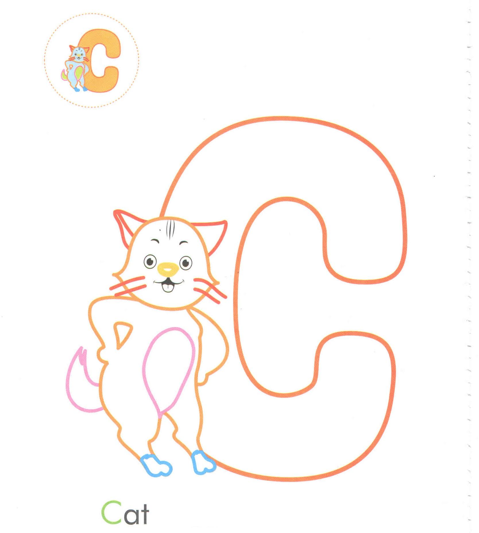 Alphabet Letter C Cat Coloring Page For Preschool