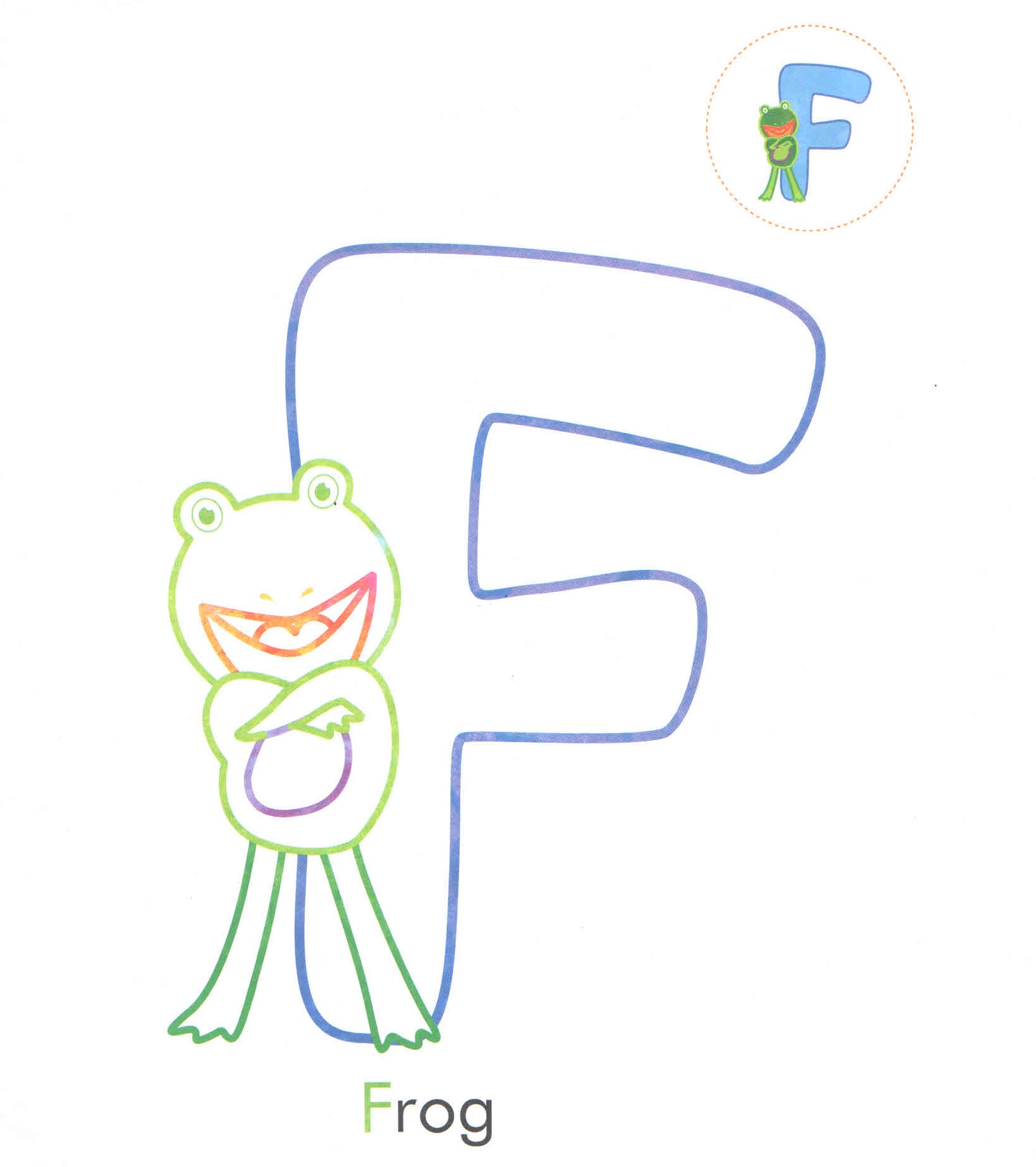 Alphabet Letter F Frog Coloring Page For Preschool
