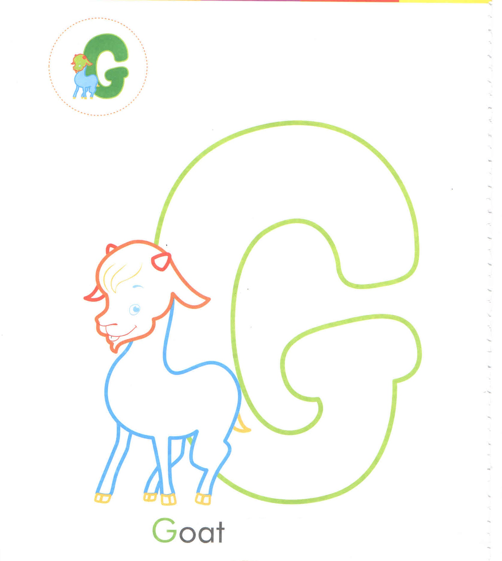 Alphabet Letter G Goat Coloring Page For Preschool