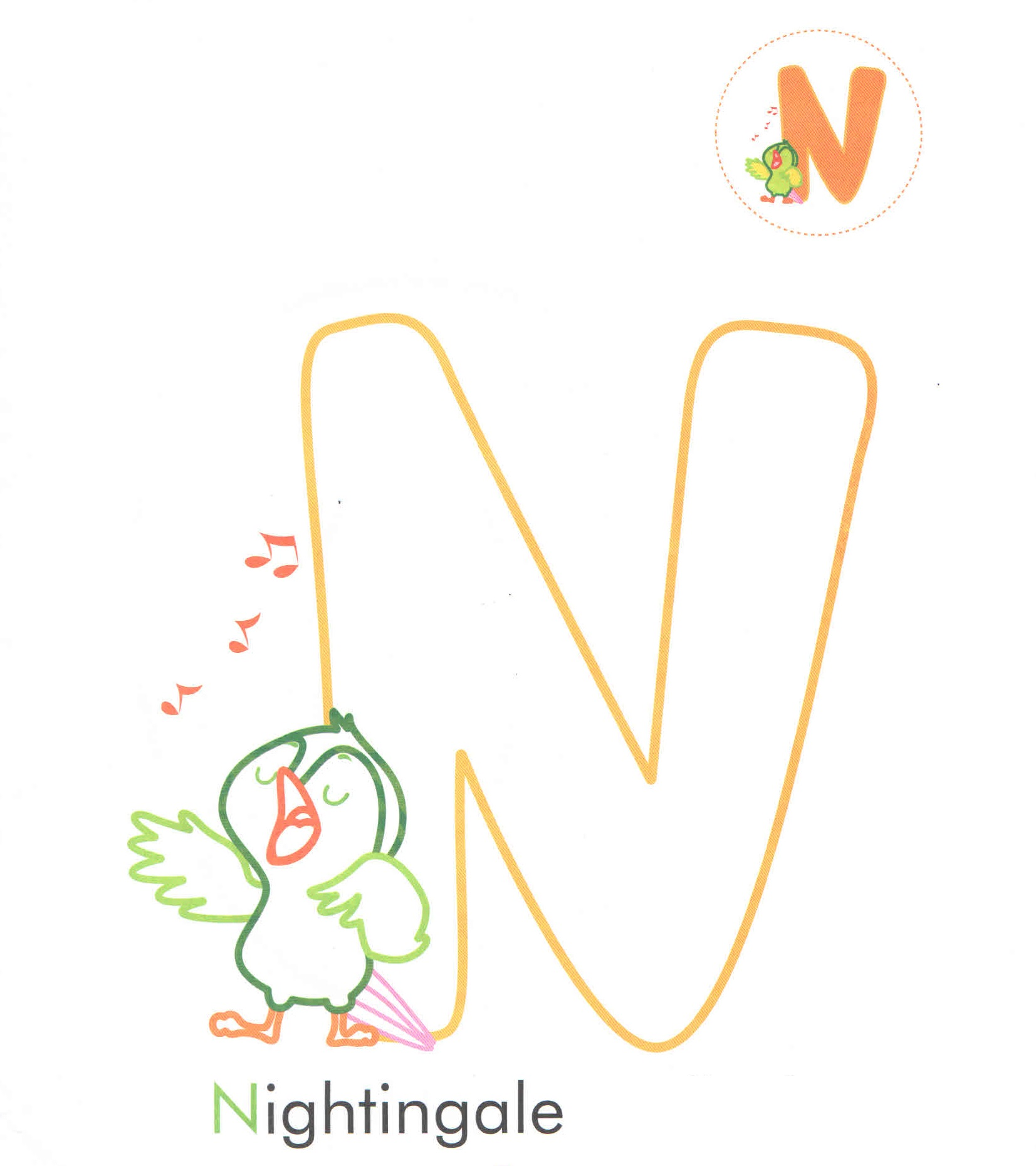 Alphabet Letter N Nightingale Coloring Page For Preschool