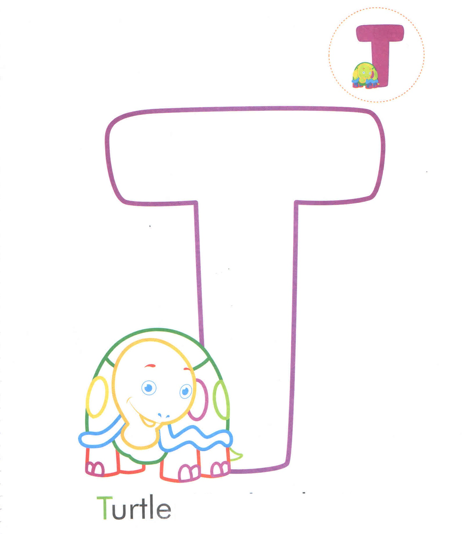 Alphabet Letter T Turtle Coloring Page For Preschool