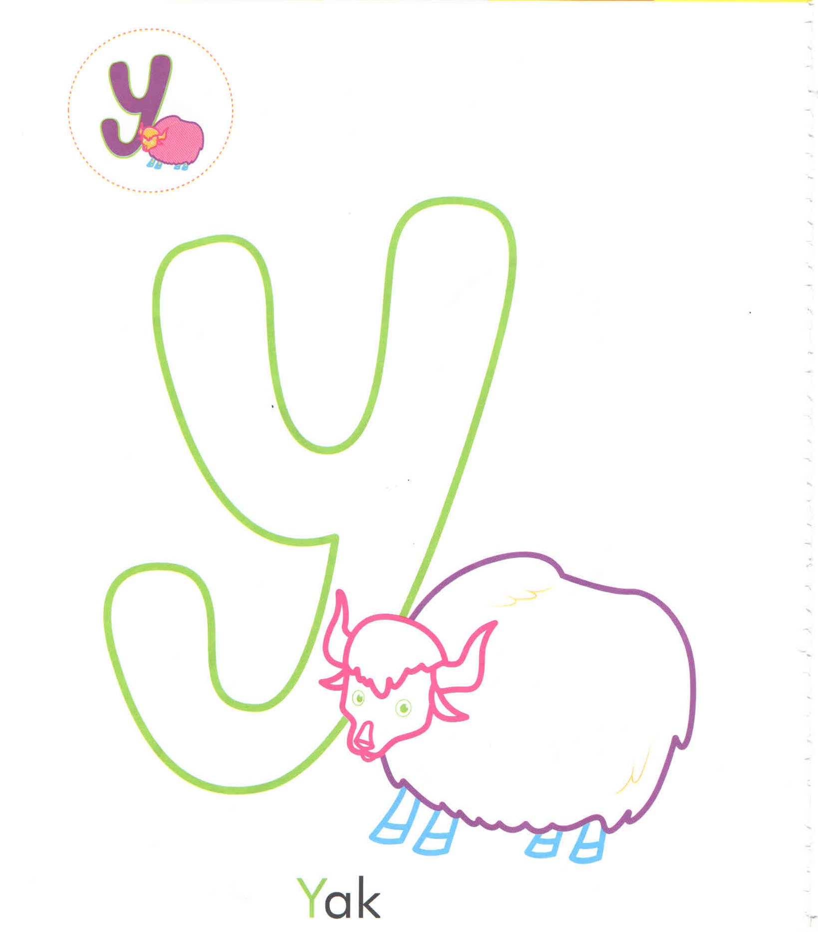 Alphabet Letter Y Yak Coloring Page For Preschool