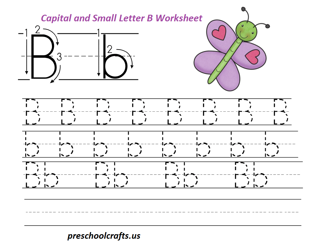 Handwriting Practice For Kids Capital And Small B Is For