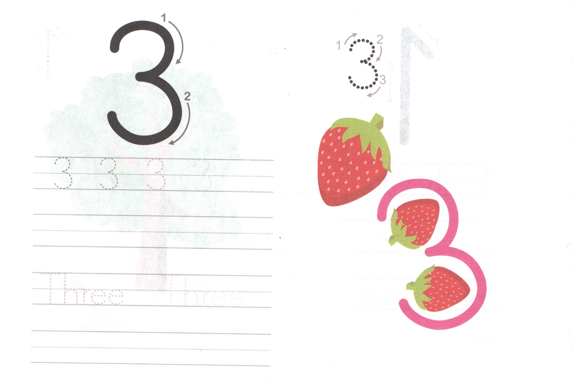 Three 3 Worksheet For Learning Numbers
