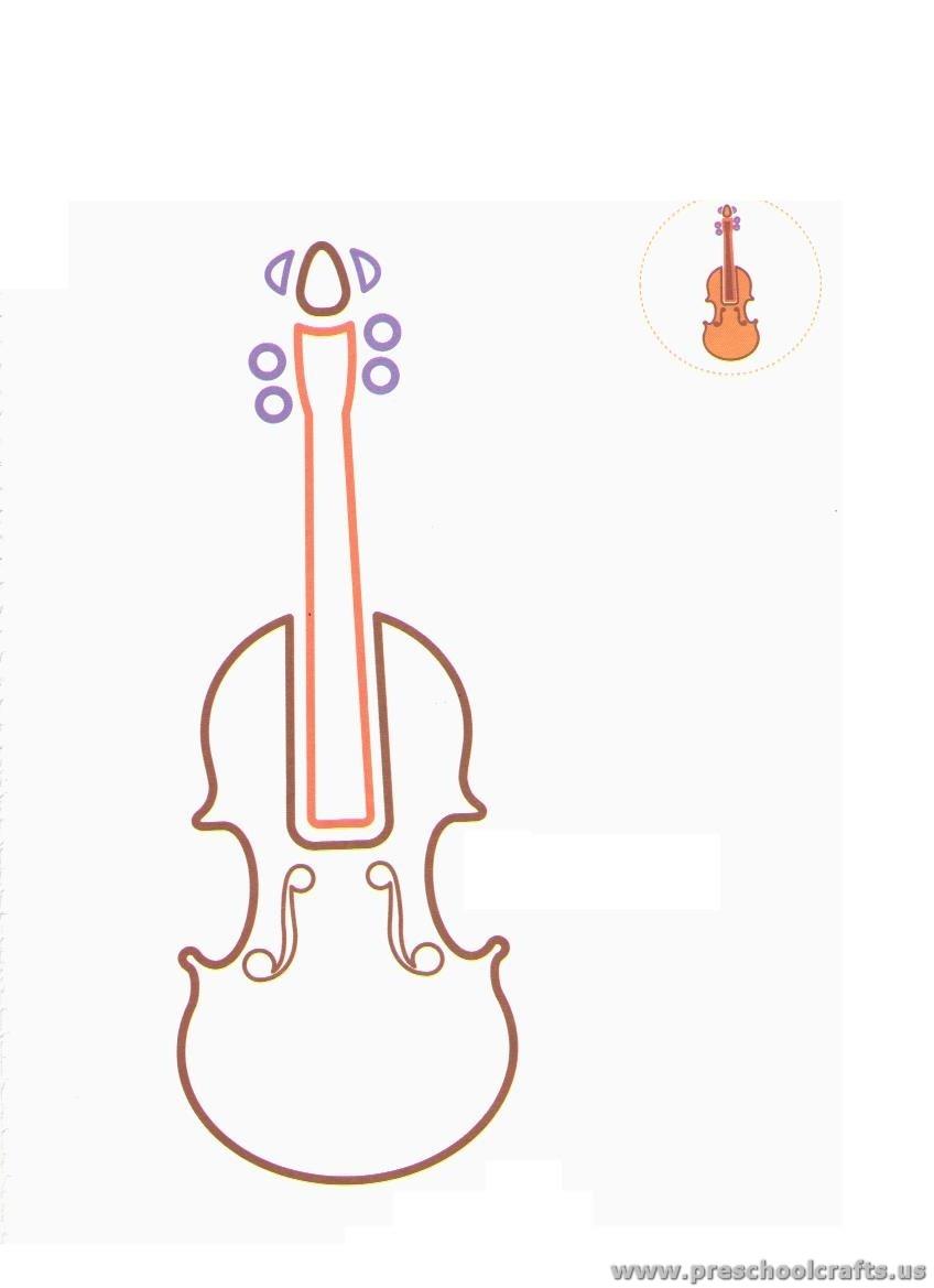 Violin Coloring Pages For Preschool Preschool Crafts