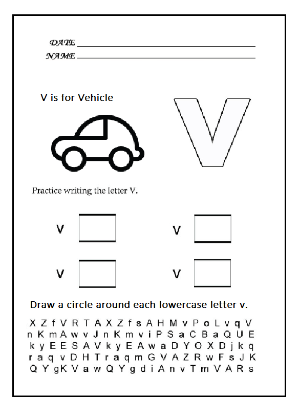 Lowercase Letter Worksheets V
