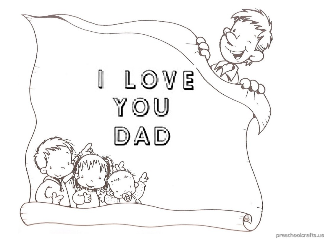 I Love You Dad Coloring Pages For Pre School And Kindergarten
