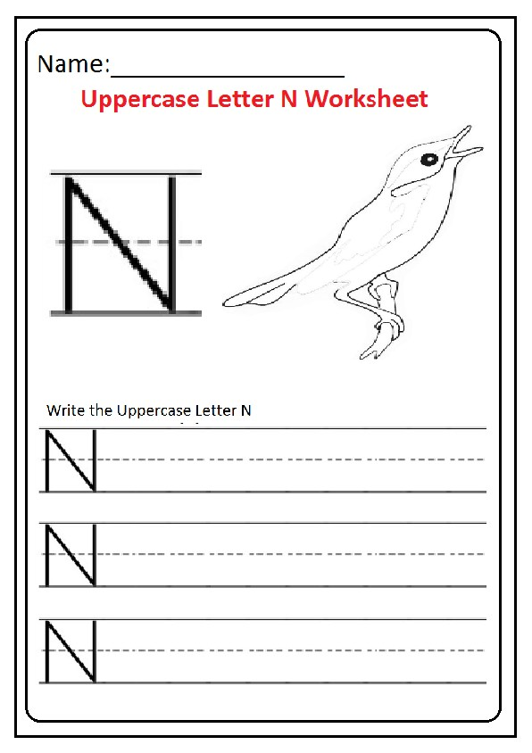 Uppercase Letter N Worksheets Free Printable