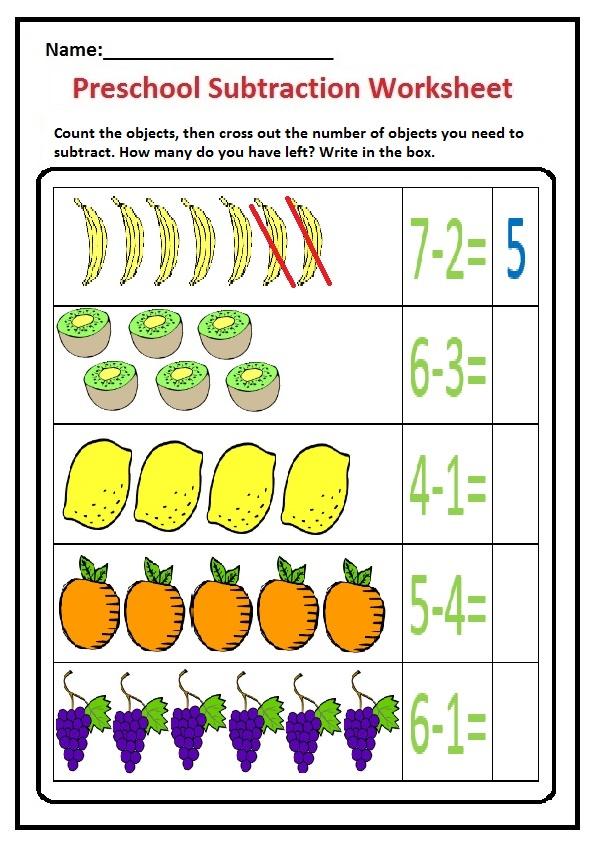 Subtraction Worksheet For Preschool Kindergarten 1 St
