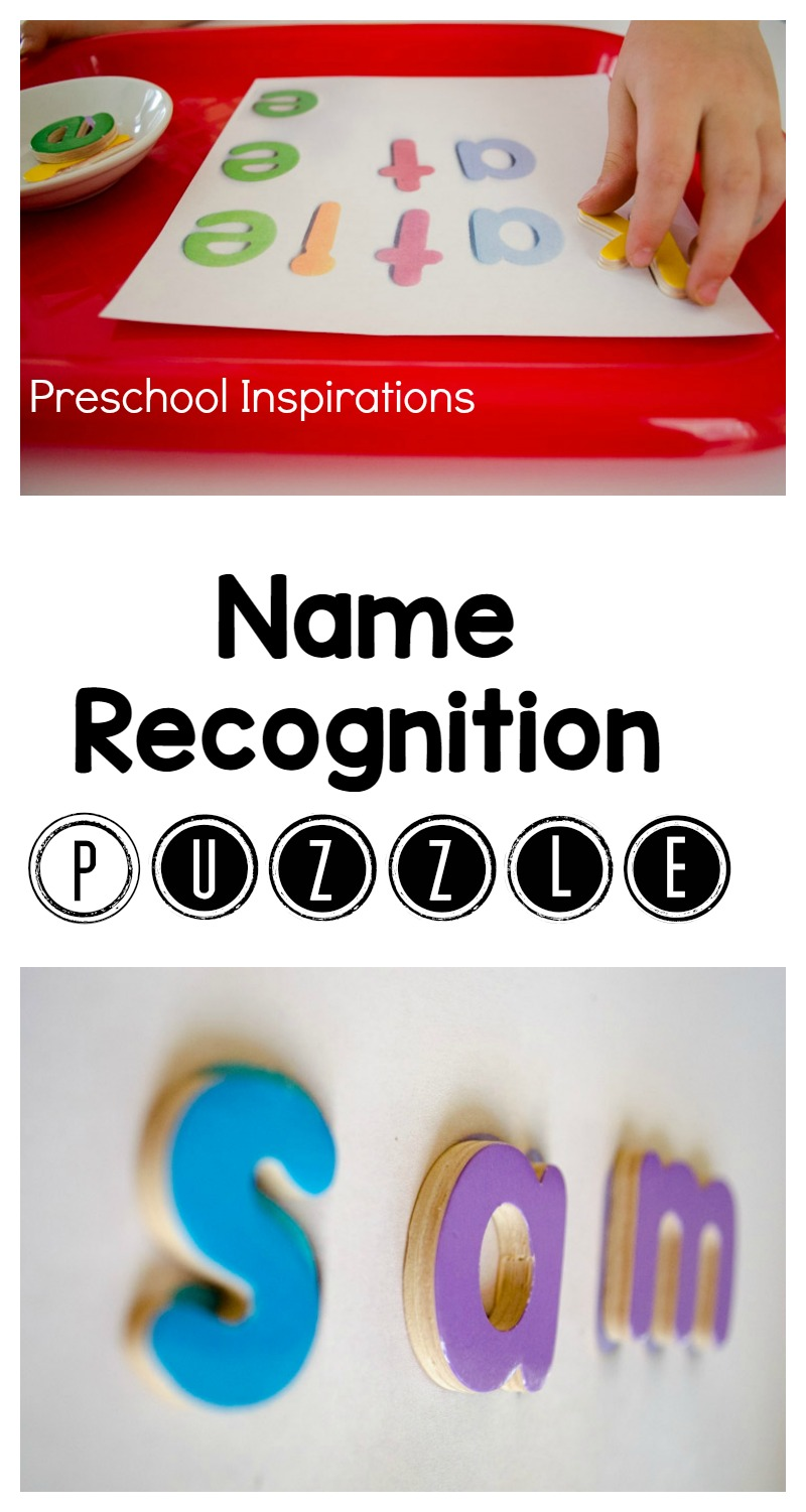 Help children learn their names by working on this DIY name recognition puzzle. Children will begin to learn name recognition and they will also learn how to spell their names. This is a perfect literacy activity and wonderful to use in a writing center.