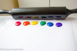 Rainbow Rolling Pin Art by Preschool Inspirations