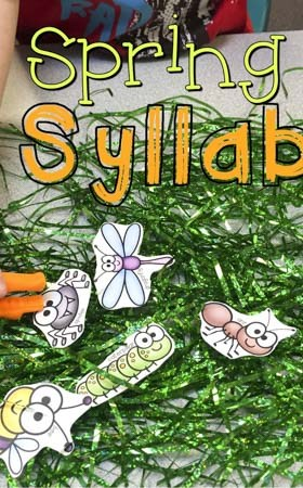 Spring Into Syllables Fine Motor and Literacy Bug Game