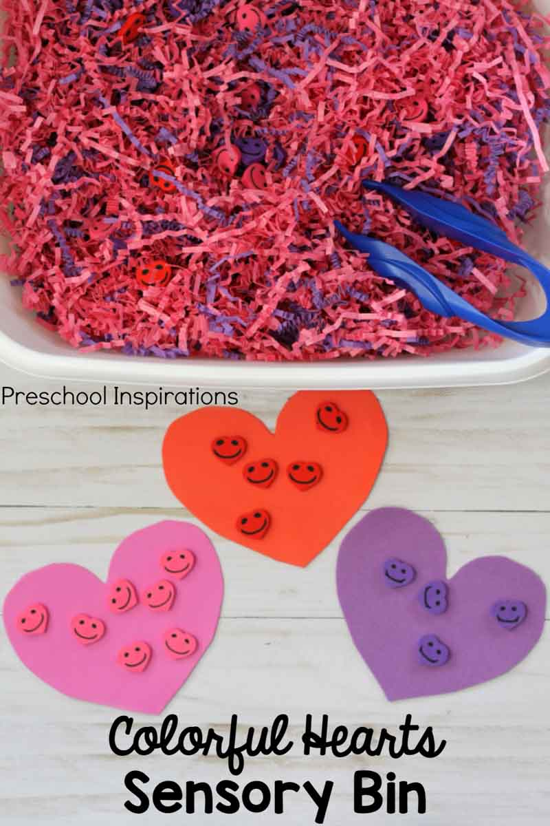 Colorful Hearts Sensory Bin for Valentine's Day