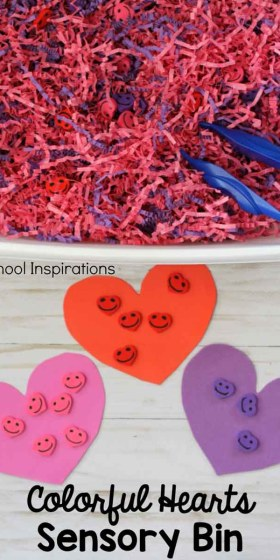 Colorful Hearts Sensory Bin for Valentine's Day