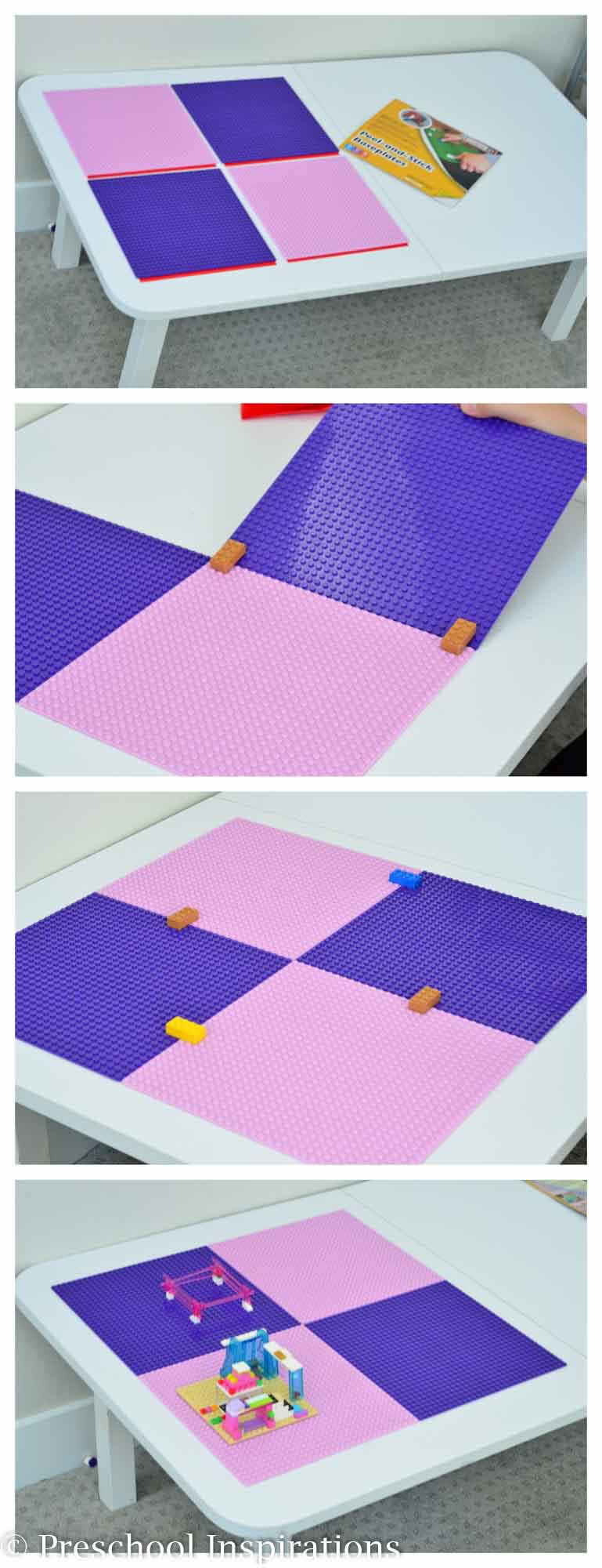 Make a Lego table with this easy Lego baseplates that peel and stick like a giant sticker. This is perfect for a girl's dream Lego table!