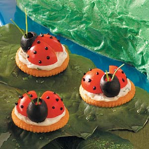Lady bug cracker and vegetable snack for kids.