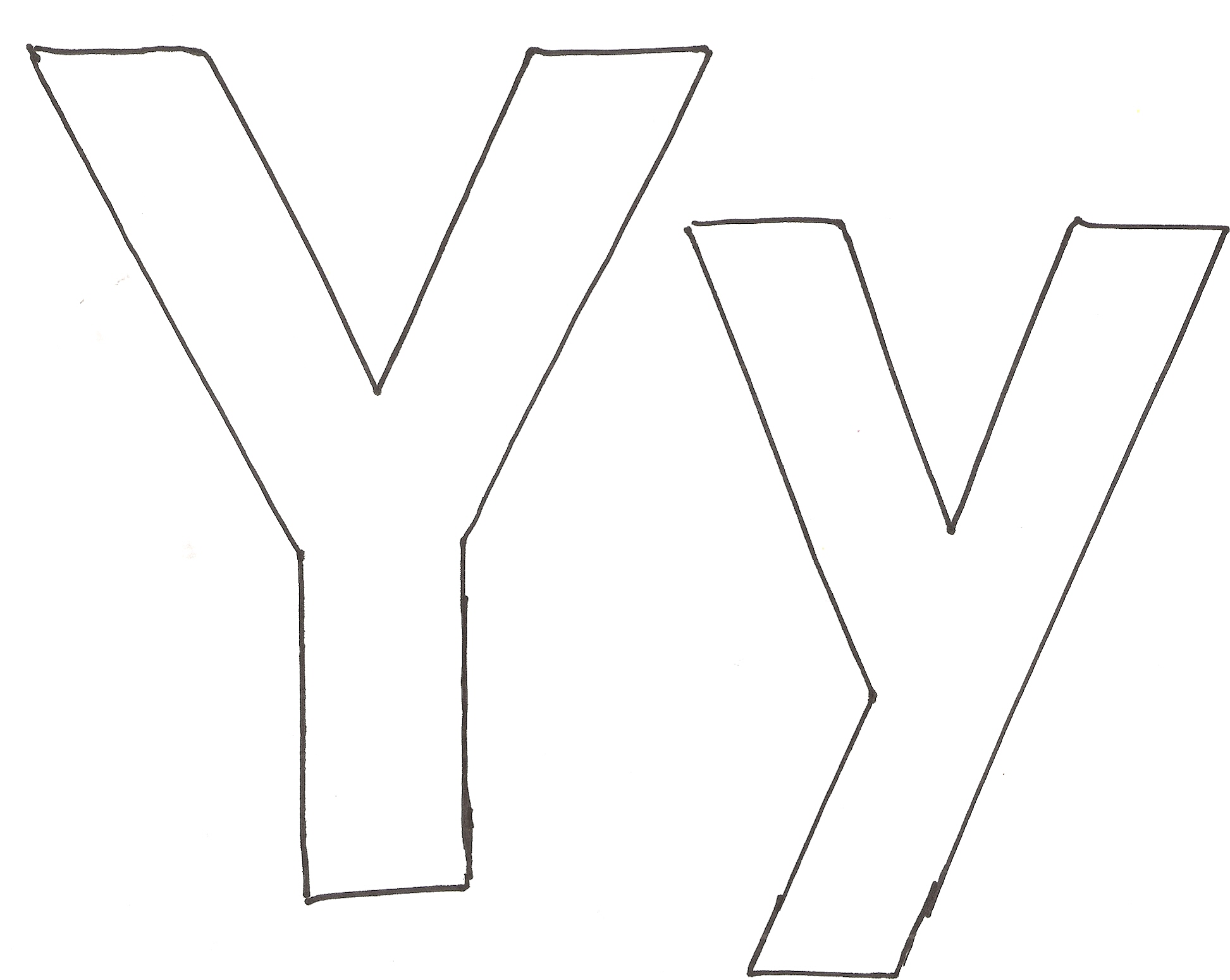 Letter Y Yellow