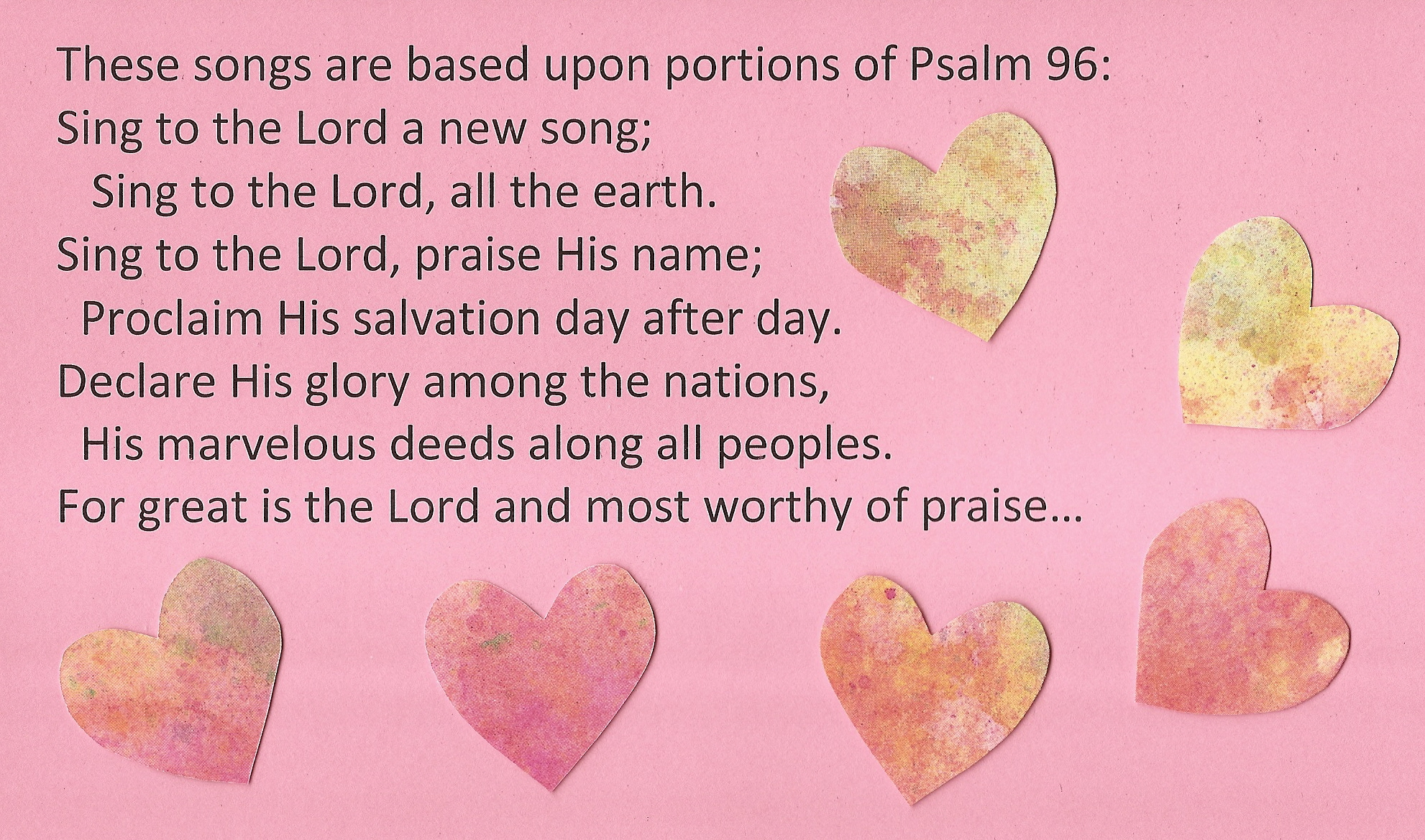 an analysis of the elements of praise in psalm 96 Psalm 119, the longest one in the entire book, is an alphabetical poem written in praise of the law the psalms' teachings are difficult to summarize because their main purpose is not instruction but expressions of the heart made in the spirit of worship.