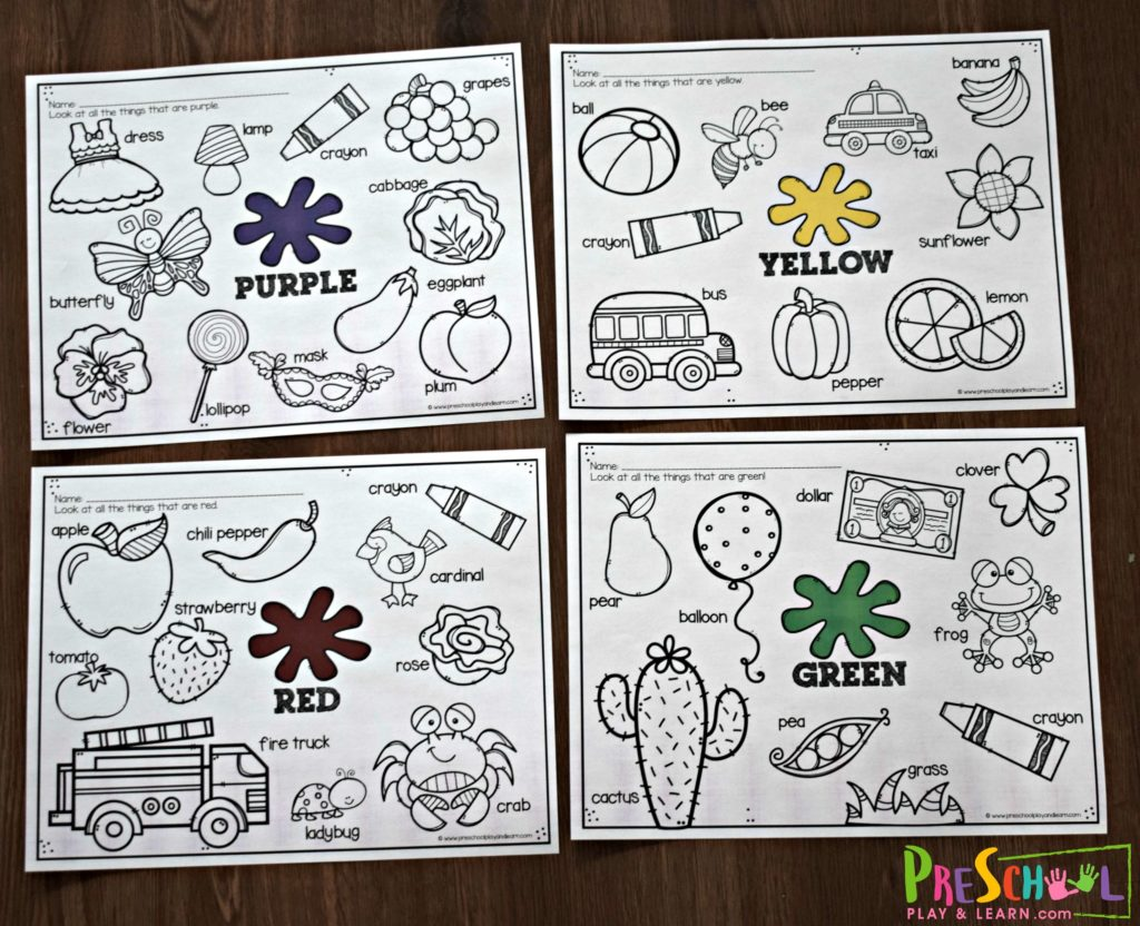Free Colors For Kids Worksheets