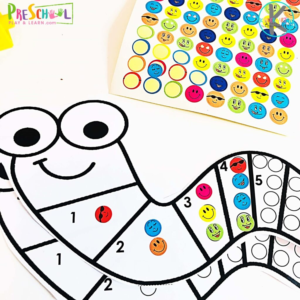 Silly Worm Count To 10 With Stickers