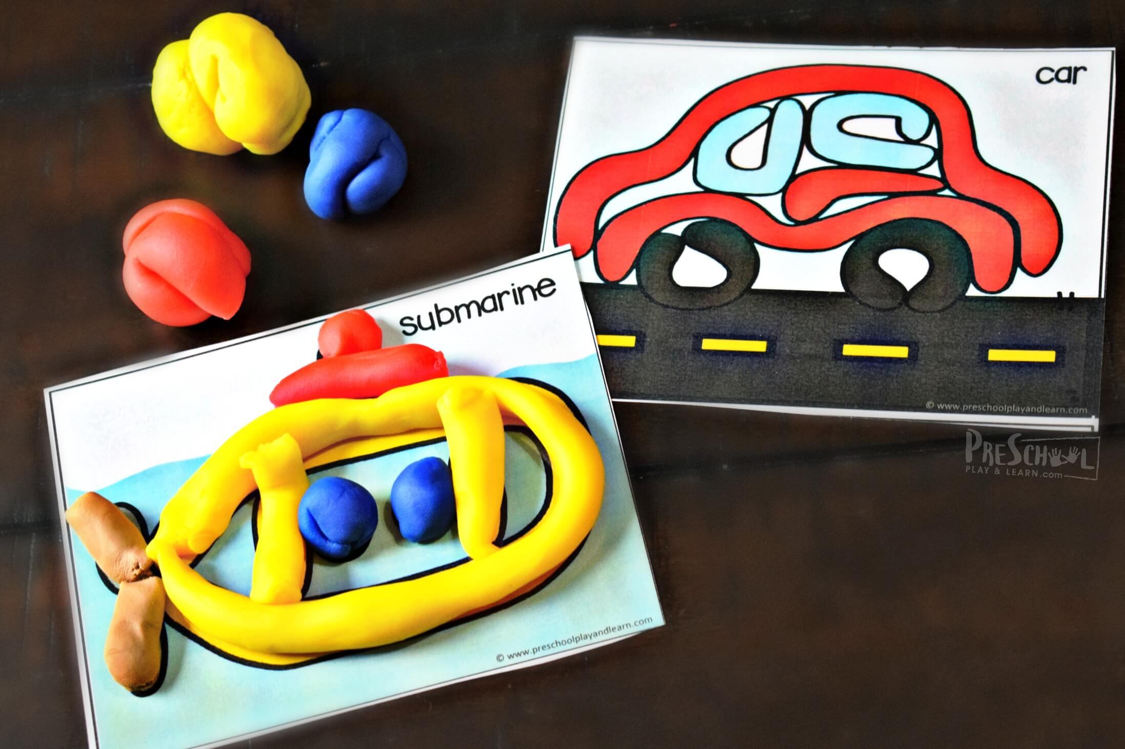 Transportation Playdough Mats