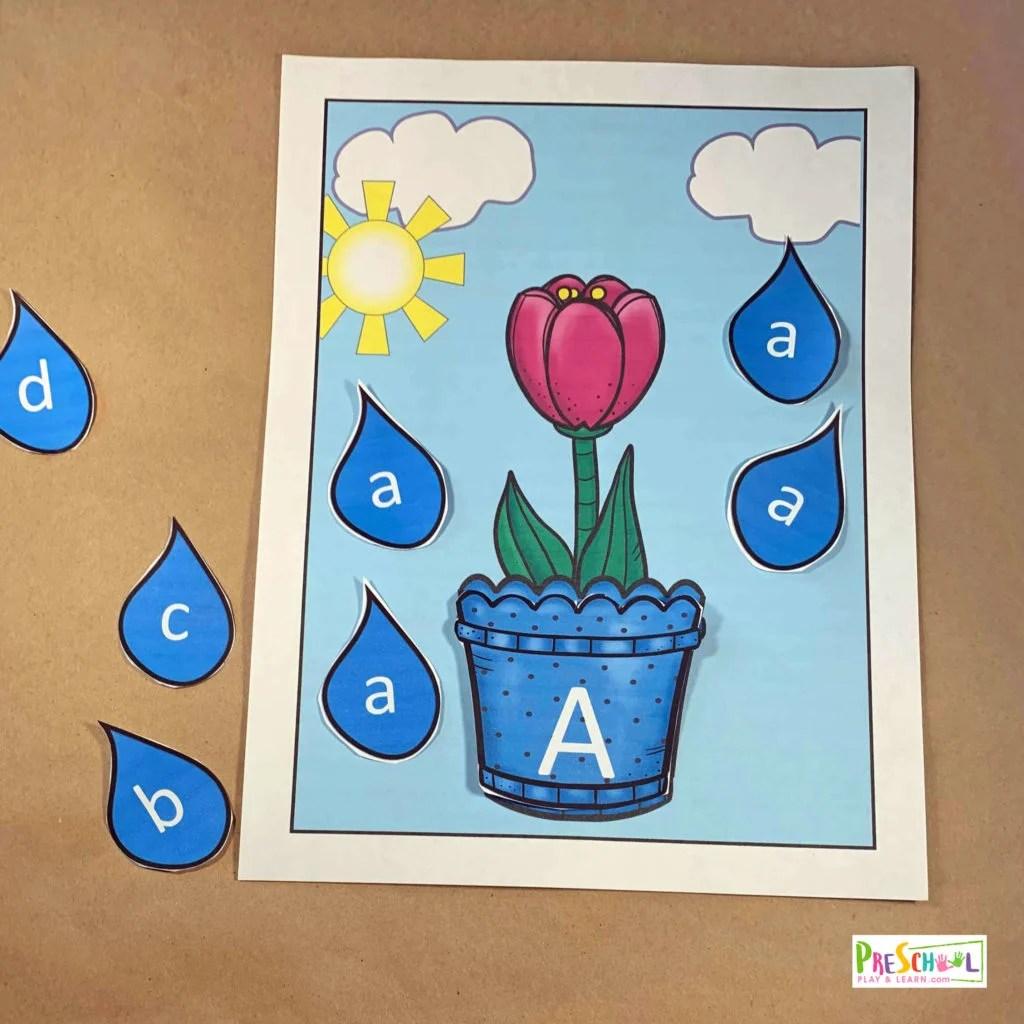 Spring Flower Amp Rain Letter Match