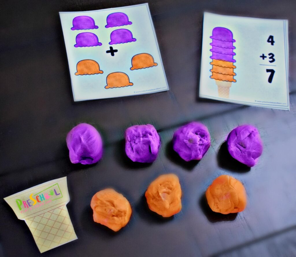 Ice Cream Task Cards For Preschool Math