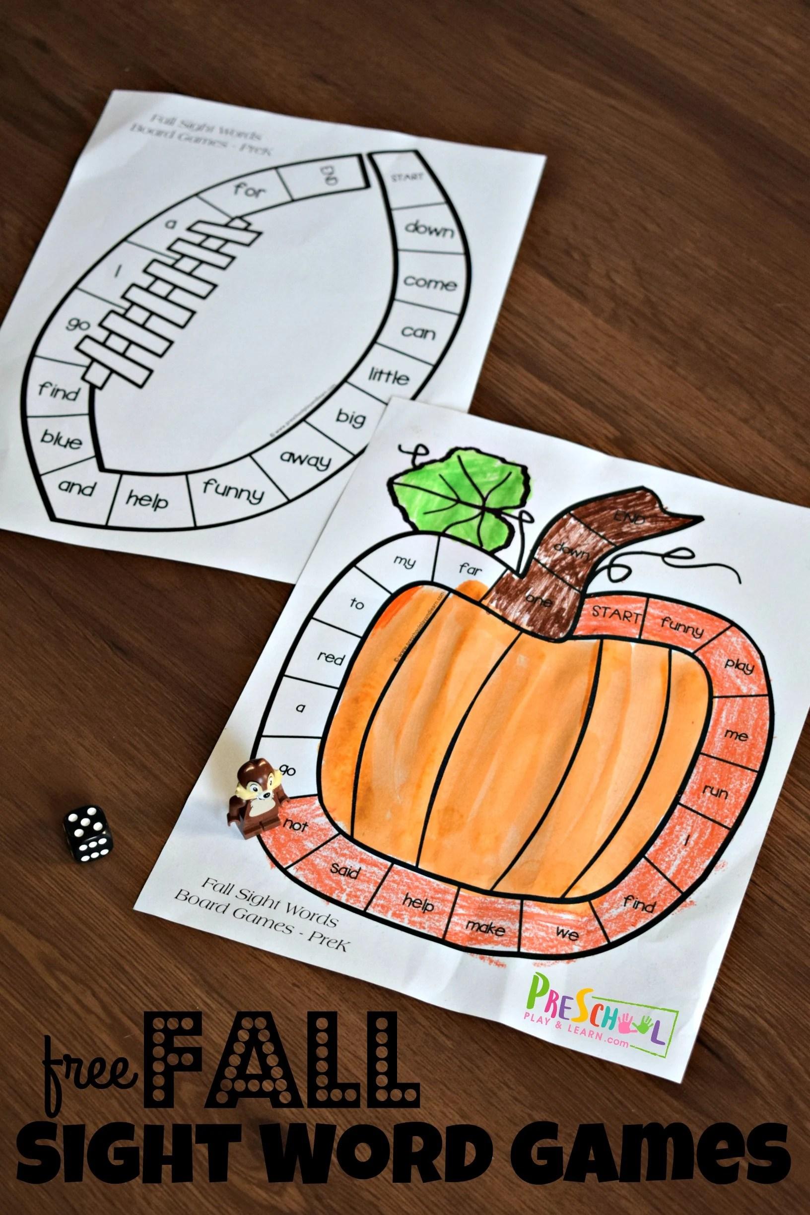 Fall Printable Sight Word Games
