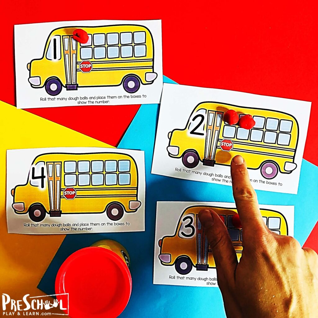 School Bus Counting Playdough Mats