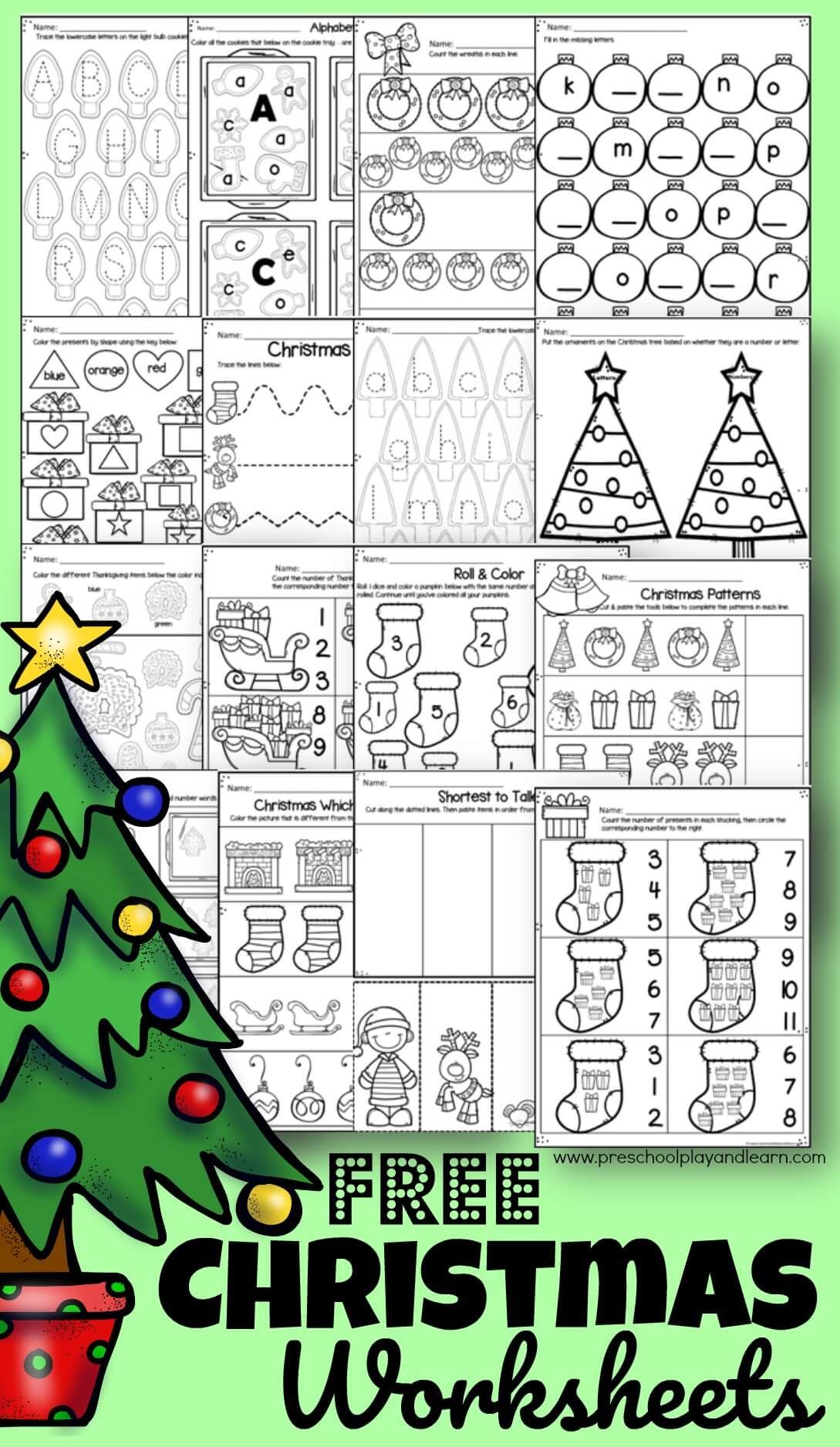 Free Christmas Worksheets For Preschoolers