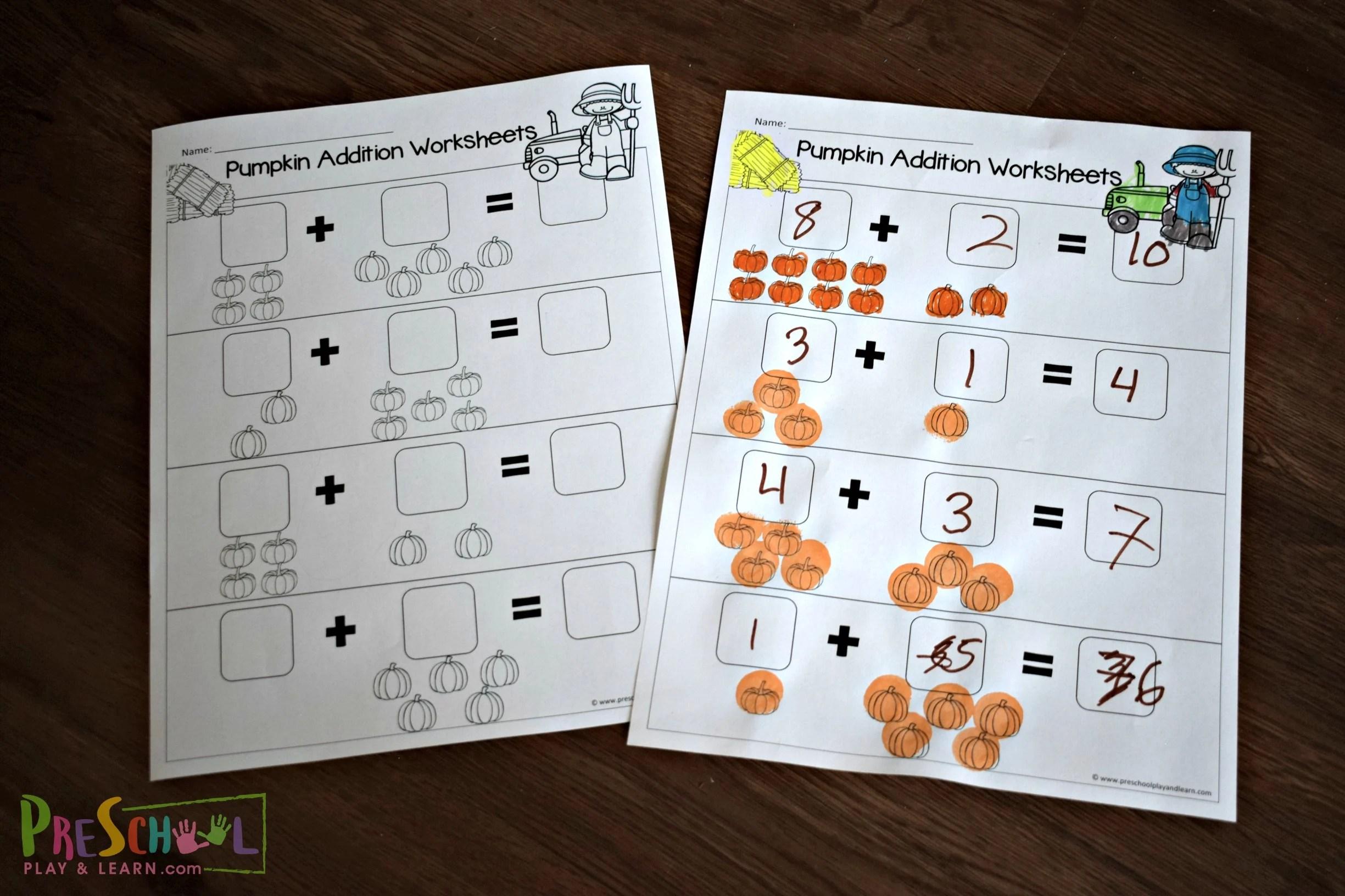 Pumpkin Addition Worksheets For Preschoolers
