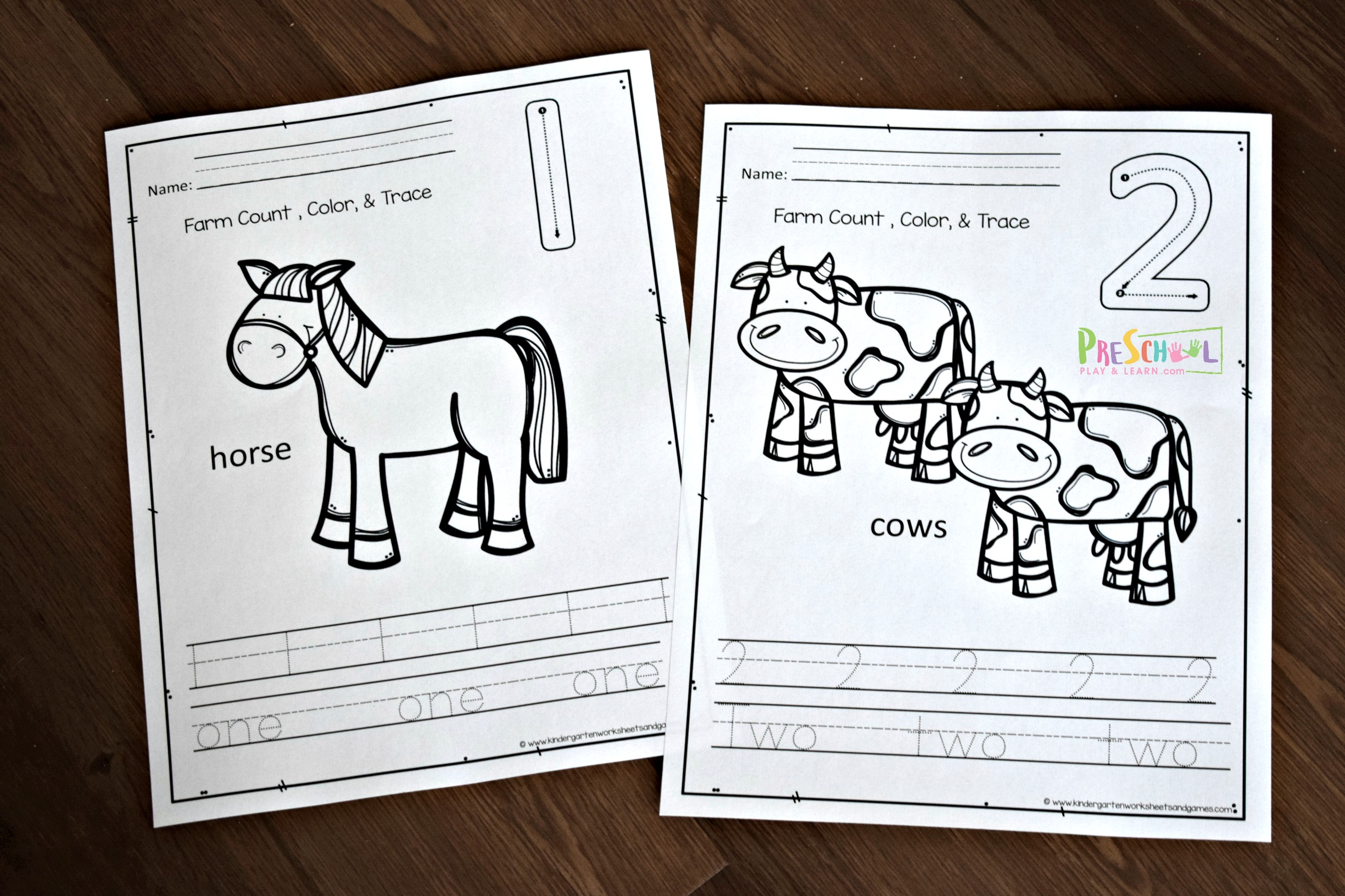 Free Counting Farm Animals Worksheets