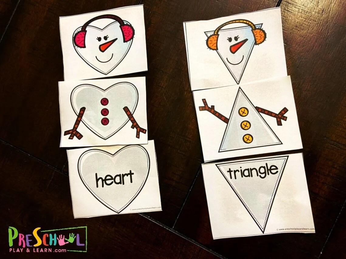 Free Snowman Printables Shape Puzzles