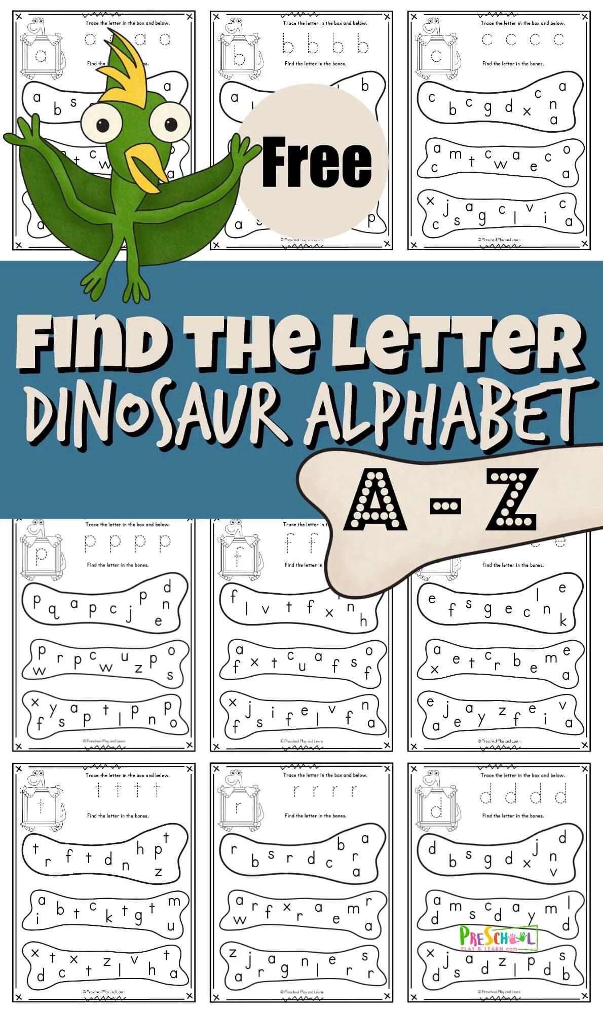 free find the letter dinosaur alphabet fun