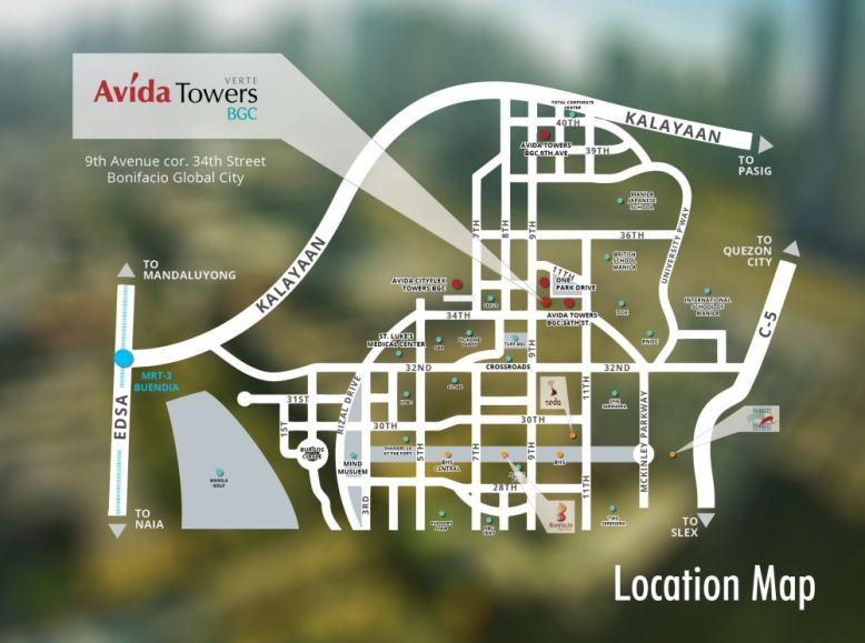 Avida Towers Verte Location Map