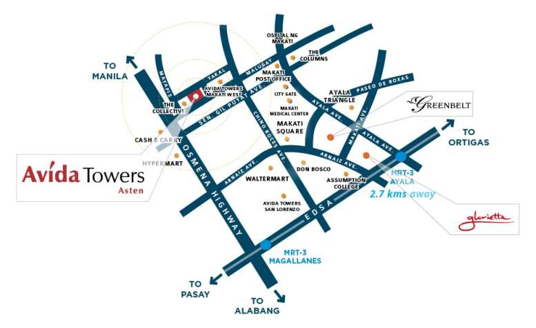 Avida Towers Asten Vicinity Map