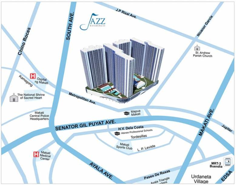 Jazz Residences Rent to Own Makati Condo Location and Vicinity