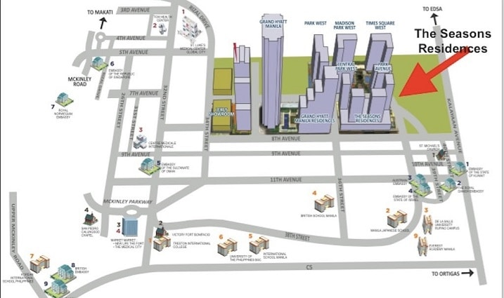 the seasons residences location and vicinity at BGC