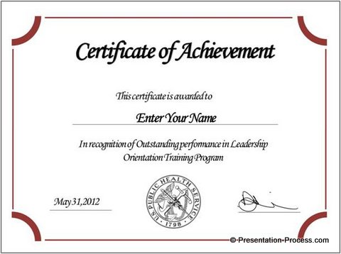 Arc Styled Certificate of Achievement