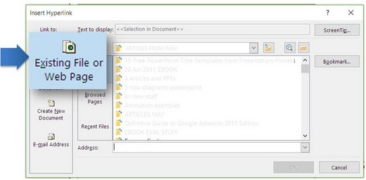 Select presentation to hyperlink