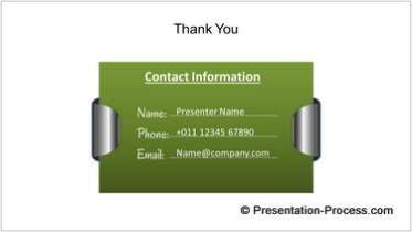 Thank You Slide with Contact Details