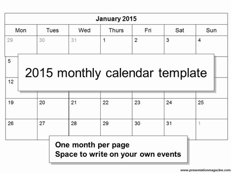 All calendar files are also openoffice compatible. Free 2015 Monthly Calendar Template