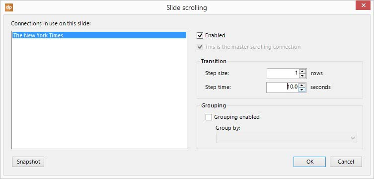 enable data scrolling for all articles on one slide