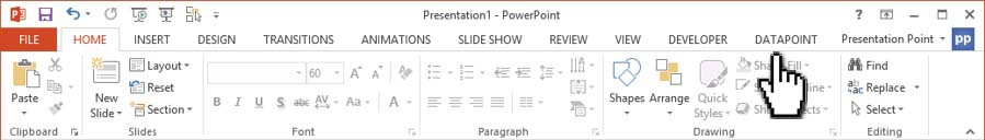 datapoint menu for live sports data in powerpoint