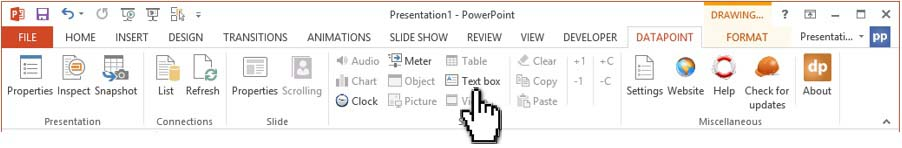 click text box in datapoint menu to set the options