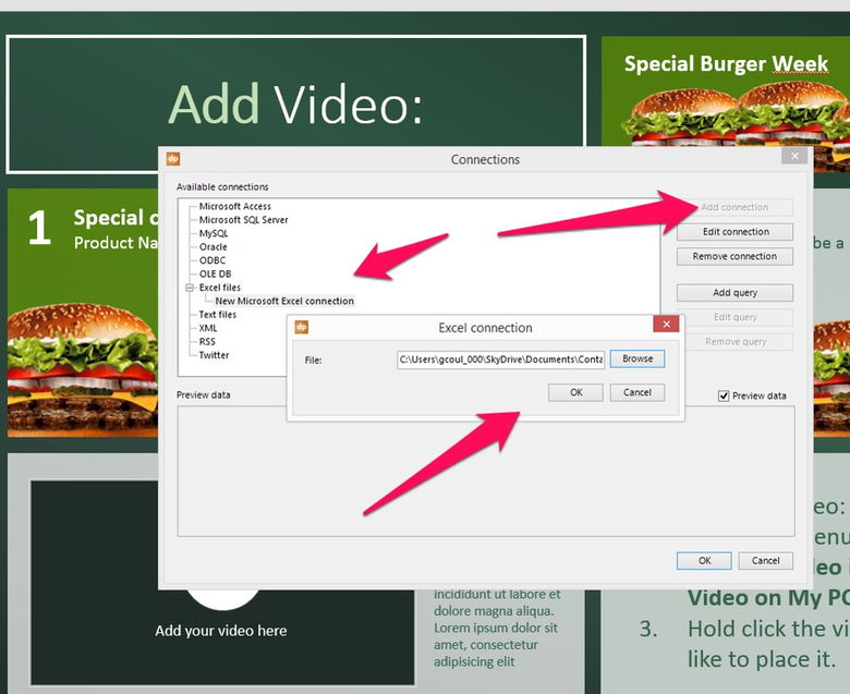 add a data connection to your digital menu board
