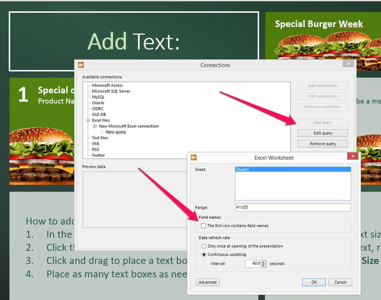 add a query to your menu board