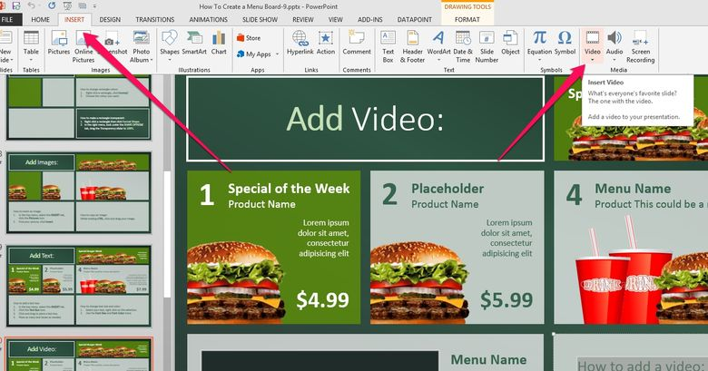 add promo and advertising video to your menu board